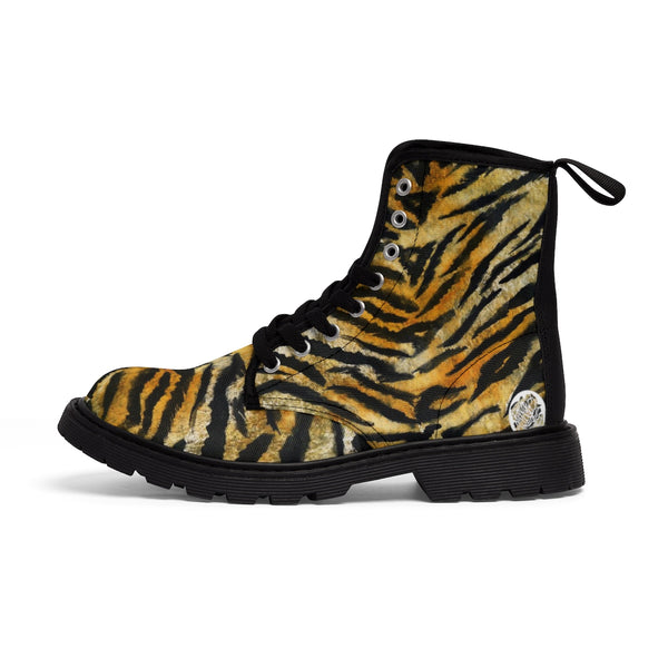 Tiger Striped Animal Skin Pattern Designer Women's Winter Lace-up Toe Cap Boots-Women's Boots-Black-US 9-Heidi Kimura Art LLC