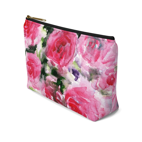 Rose Floral Print Accessory Pouch with T-bottom Makeup Bag - Made in USA-Accessory Pouch-Heidi Kimura Art LLC