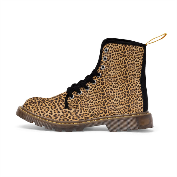 Brown Leopard Women's Canvas Boots, Best Leopard Animal Print Winter Boots For Ladies-Shoes-Printify-Heidi Kimura Art LLC