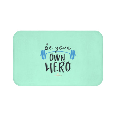 "Light Blue ""Be Your Own Hero"" Inspirational Quote Microfiber Bath Mat- Printed in USA-Bath Mat-Large 34x21-Heidi Kimura Art LLC"