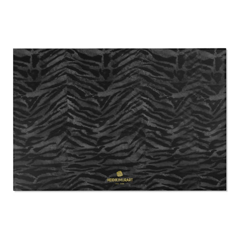 "Gray Black Tiger Stripe Animal Print Designer 24x36, 36x60, 48x72 inches Area Rugs - Printed in USA-Area Rug-72"" x 48""-Heidi Kimura Art LLC"
