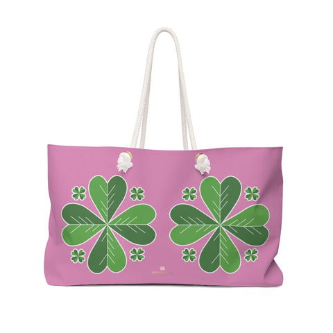 "Light Pink Green Clover Leaf St. Patrick's Day Irish Print 24""x13""Weekender Bag- Made in USA-Weekender Bag-24x13-Heidi Kimura Art LLC"