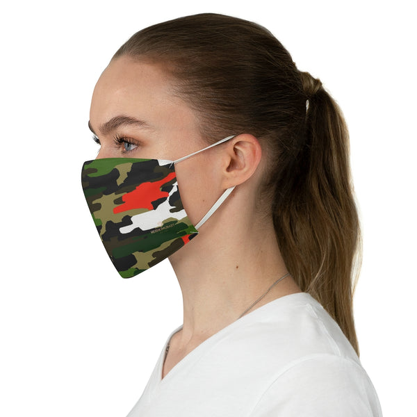 "Green Red Camouflage Print Face Mask, Adult Military Style Modern Fabric Face Mask-Made in USA-Accessories-Printify-One size-Heidi Kimura Art LLC Green Camouflage Print Face Mask, Adult Military Style Designer Fashion Face Mask For Men/ Women, Designer Premium Quality Modern Polyester Fashion 7.25"" x 4.63"" Fabric Non-Medical Reusable Washable Chic One-Size Face Mask With 2 Layers For Adults With Elastic Loops-Made in USA"