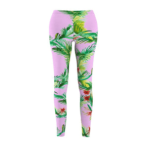 Pink Green Floral Wreath Print Women's Designer Casual Leggings - Made in USA-Casual Leggings-M-Heidi Kimura Art LLC