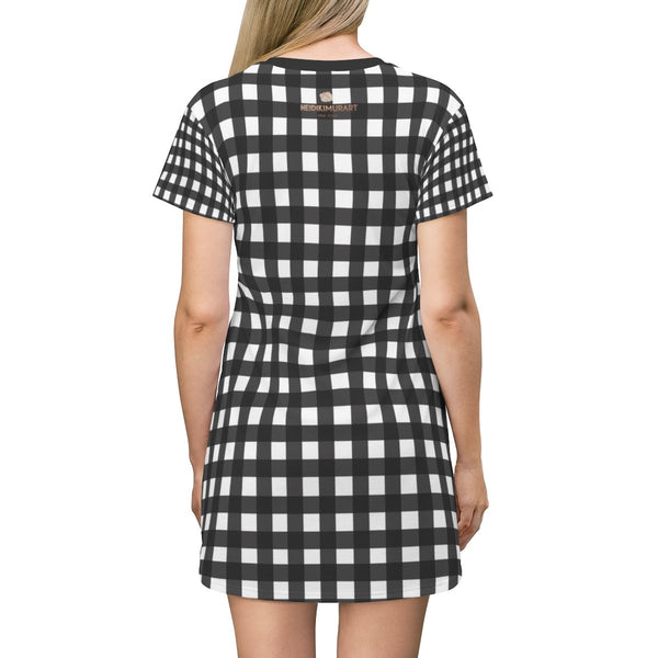 Black White Buffalo Plaid Print Designer Crew Neck T-shirt Dress-Made in USA-T-Shirt Dress-Heidi Kimura Art LLC Black Buffalo T-Shirt Dress, Black White Buffalo Plaid Print Designer Crew Neck Women's Long Tee T-shirt Dress-Made in USA (US Size: XS-2XL)