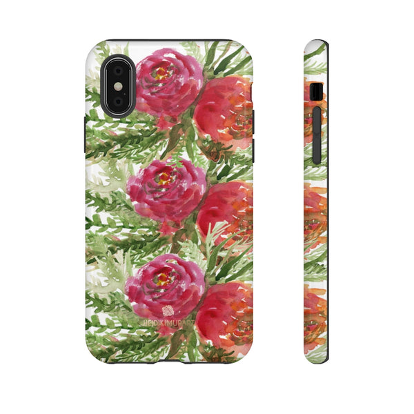 Red Orange Floral Phone Case, Flower Print Tough Designer Phone Case -Made in USA-Phone Case-Printify-iPhone XS-Glossy-Heidi Kimura Art LLC