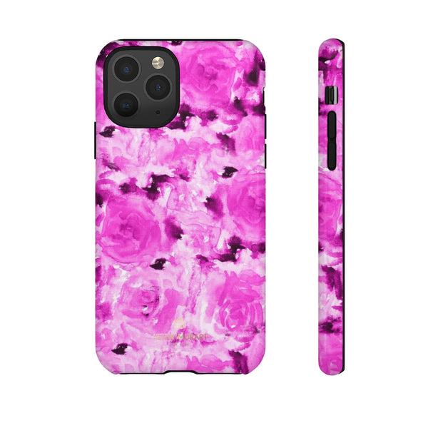 Hot Pink Floral Print Phone Case, Abstract Print Tough Cases, Designer Phone Case-Made in USA-Phone Case-Printify-iPhone 11 Pro-Glossy-Heidi Kimura Art LLC
