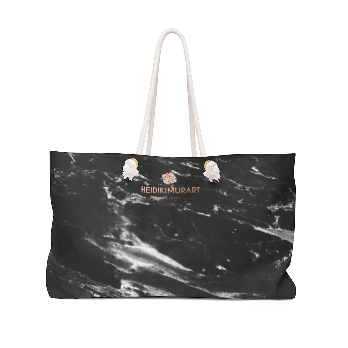 "Black Marble Print Weekender Bag, Large 24""x13"" Designer Oversize Bag- Printed in USA-Weekender Bag-24x13-Heidi Kimura Art LLC"
