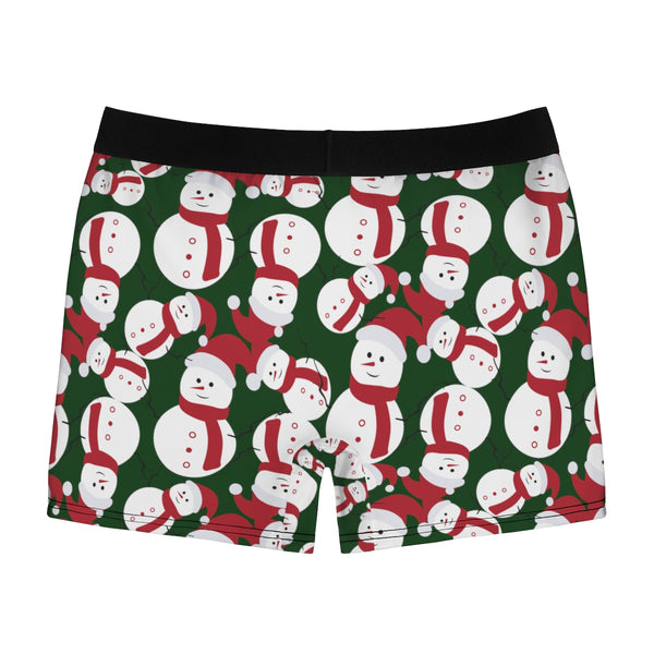 Green Christmas Cute Snowman Print Premium Men's Boxer Briefs Underwear-Men's Underwear-Heidi Kimura Art LLC