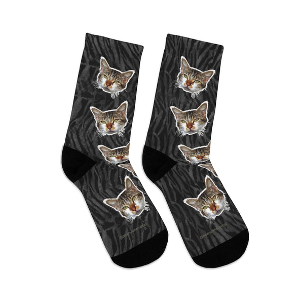 Gray Tiger Stripe Cat Print Meggings, Calico Cat Print One-Size Knit Socks- Made in USA-Socks-One size-Heidi Kimura Art LLC