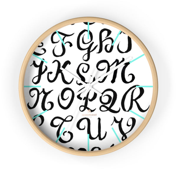 "Alphabet Print 10"" dia. Wall Clock, Large Calligraphy Wall Clock For Library -Made in USA-Wall Clock-10 in-Wooden-White-Heidi Kimura Art LLC"