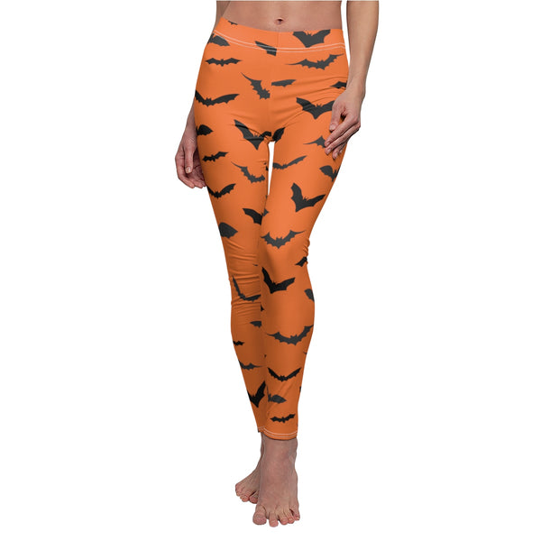 Red Orange Black Bats Women's Halloween Costume Casual Leggings- Made in USA-Casual Leggings-White Seams-M-Heidi Kimura Art LLC