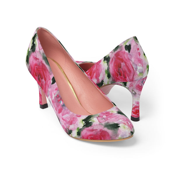 "Pink Princess Rose Designer Japanese Floral Print Women's 3"" High Heels Pumps Shoes-3 inch Heels-Heidi Kimura Art LLC Pink Floral Heels, Pink Princess Rose Designer Japanese Floral Print Women's 3"" High Heels Pumps Shoes (US Size: 5-11)"