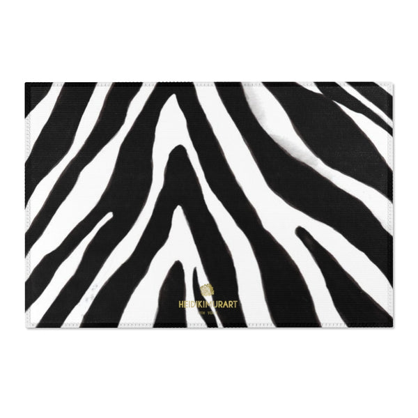 "Deluxe White Black Zebra Animal Print Designer 24x36, 36x60, 48x72 inches Area Rugs-Area Rug-36"" x 24""-Heidi Kimura Art LLC"