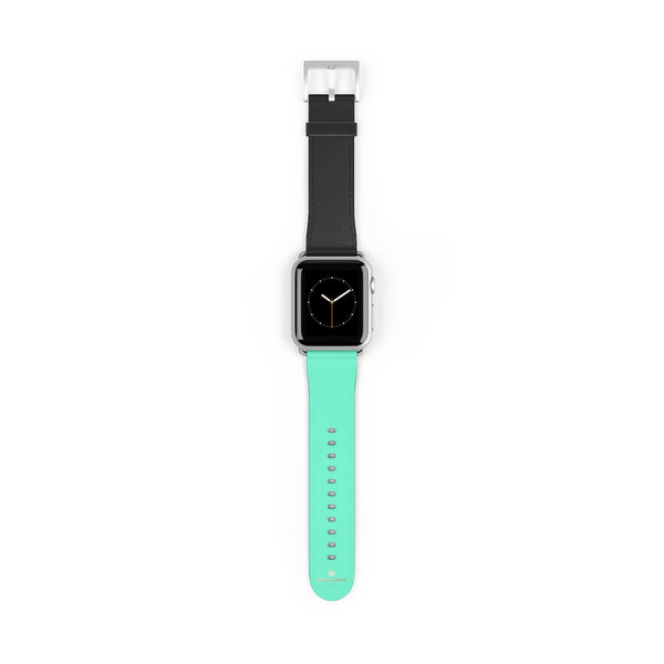 Dual Color Black & Light Blue 38mm/ 42mm Watch Band For Apple Watch- Made in USA-Watch Band-38 mm-Silver Matte-Heidi Kimura Art LLC