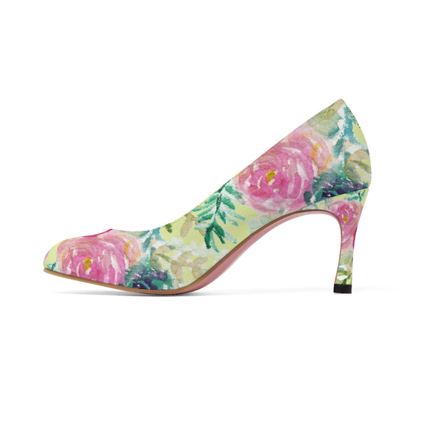 "Charming Rose Floral Print Bridal Style Women's Designer 3"" High Heels Shoes-3 inch Heels-Heidi Kimura Art LLC"