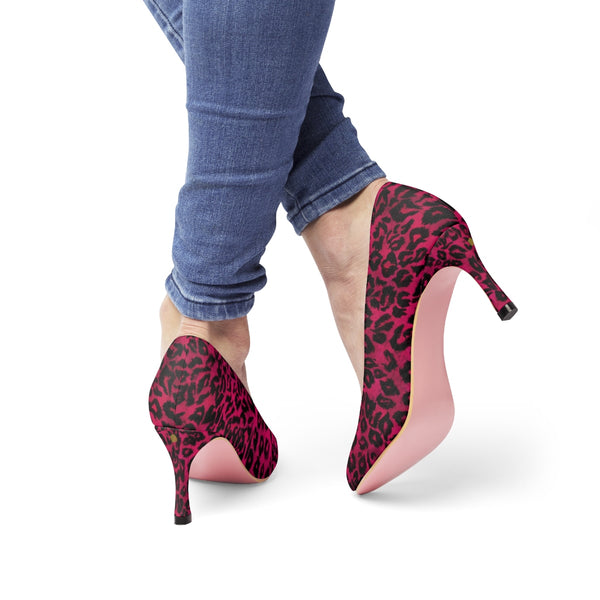 Hot Pink Leopard Animal Print Designer Women's 3 inch High Heels Shoes Pumps-3 inch Heels-Heidi Kimura Art LLC