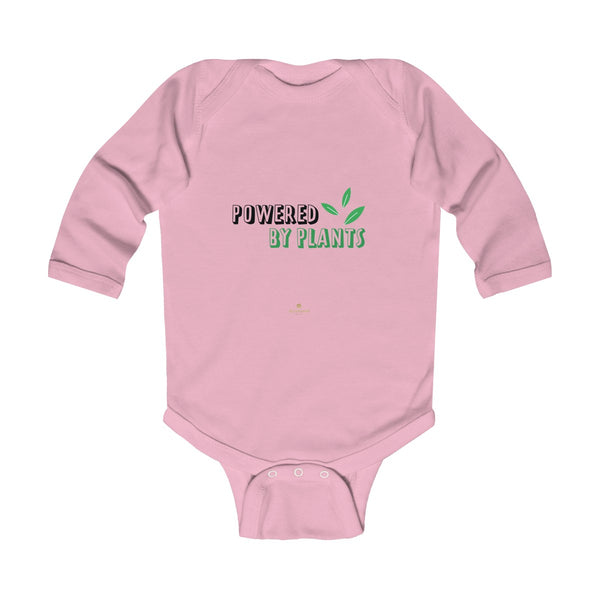 Cute Powered By Plants Vegan Baby Boy/Girls Infant Kids Long Sleeve Bodysuit - Made in USA-Infant Long Sleeve Bodysuit-Pink-NB-Heidi Kimura Art LLC