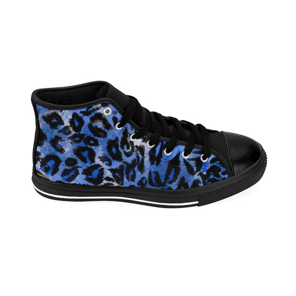Blue Leopard Animal Print Premium Men's High-top Fashion Sneakers Tennis Shoes-Men's High Top Sneakers-Heidi Kimura Art LLC