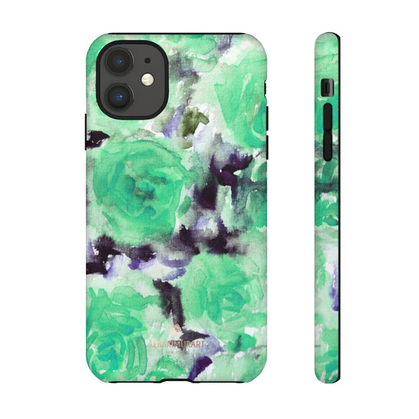 Turquoise Floral Print Tough Cases, Designer Phone Case-Made in USA-Phone Case-Printify-iPhone 11-Matte-Heidi Kimura Art LLC