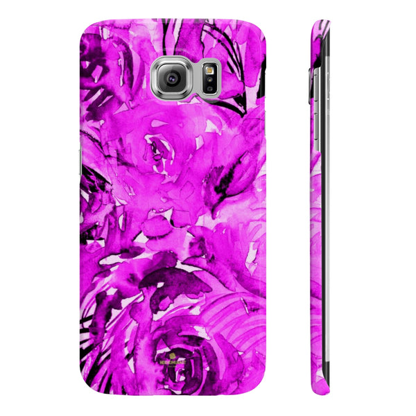 Purple Pink Slim iPhone/ Samsung Galaxy Floral Purple Rose Smart Phone Case, Made in UK-Phone Case-Samsung Galaxy S6 Slim-Glossy-Heidi Kimura Art LLC