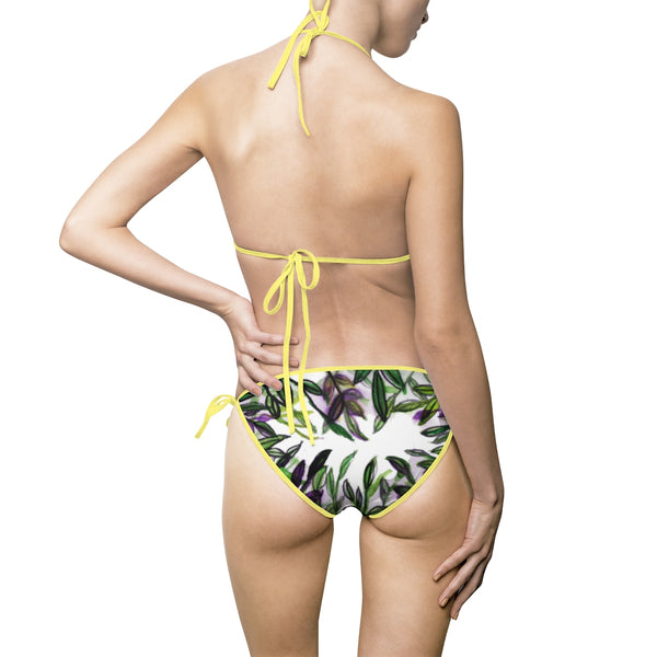 Wild Green Tropical Leaves Print Asian Beauty Women's Bikini Swimsuit Swimwear-Bikini-Heidi Kimura Art LLC