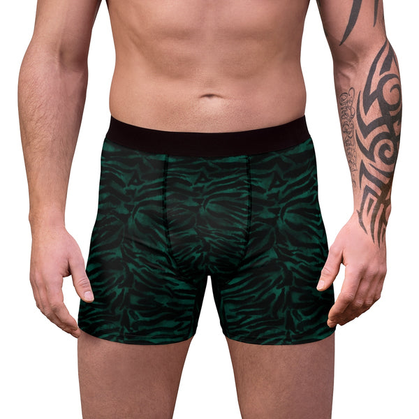 Green Tiger Striped Animal Print Sexy Hot Men's Boxer Briefs-Men's Underwear-Heidi Kimura Art LLC