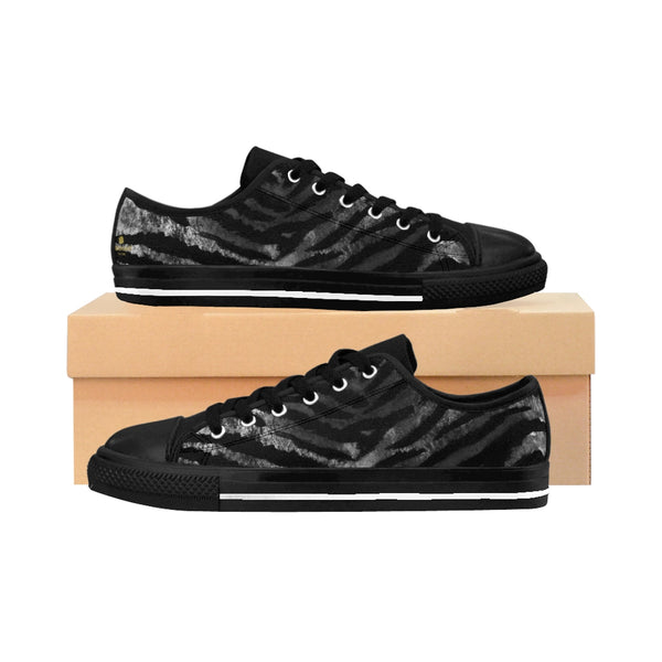 Black Tiger Striped Men's Low Tops, Animal Print Men's Low Top Sneakers Running Shoes-Men's Low Top Sneakers-US 9-Heidi Kimura Art LLC Black Tiger Striped Men's Sneakers, Black Tiger Striped Men's Low Tops, Black Fierce Bengal Tiger Stripe Animal Skin Men's Low Top Sneakers Running Shoes (US Size: 7-14)