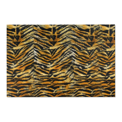 "Orange Tiger Stripe Animal Print Designer 24x36, 36x60, 48x72 inches Area Rugs - Printed in USA-Area Rug-72"" x 48""-Heidi Kimura Art LLC"