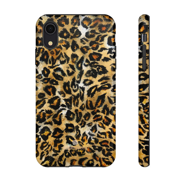 Brown Leopard Tough Cases, Animal Print Best Designer Phone Case-Made in USA-Phone Case-Printify-iPhone XR-Glossy-Heidi Kimura Art LLC