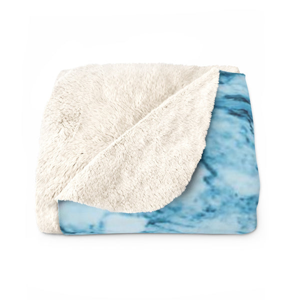 Modern Blue Marble Abstract Print Designer Cozy Sherpa Fleece Blanket-Made in USA-Blanket-Heidi Kimura Art LLC
