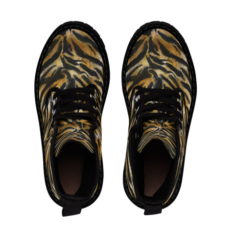 Cool Tiger Stripe Animal Print Designer Women's Winter Lace-up Toe Cap Boots Shoes-Women's Boots-Heidi Kimura Art LLC Tiger Stripe Women's Boots, Cool Tiger Stripe Pattern Animal Print Bestselling Best Designer Women's Winter Lace-up Toe Cap Boots Shoes (US Size: 6.5-11)