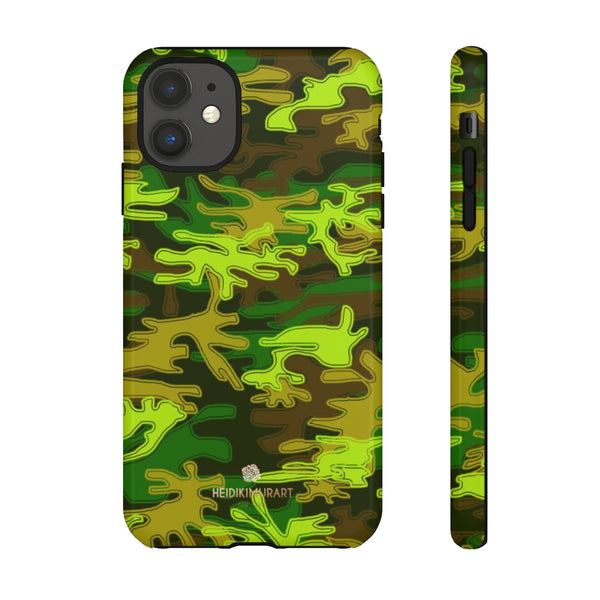 Green Camouflage Phone Case, Army Military Print Tough Designer Phone Case -Made in USA-Phone Case-Printify-iPhone 11-Glossy-Heidi Kimura Art LLC