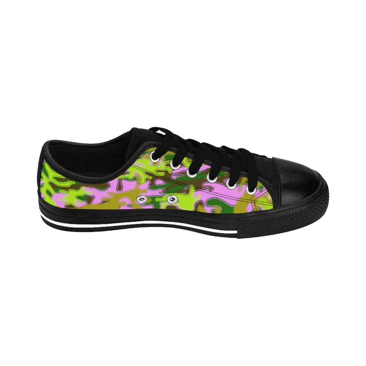 Pink Green Camouflage Military Print Premium Men's Low Top Canvas Sneakers Shoes-Men's Low Top Sneakers-Black-US 9-Heidi Kimura Art LLC