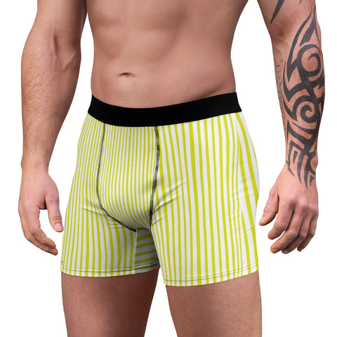 Yellow Striped Men's Boxer Briefs, Vertical Stripe Print Premium Quality Underwear For Men-All Over Prints-Printify-L-Black Seams-Heidi Kimura Art LLC Yellow Striped Men's Boxer Briefs, Vertical Stripe Print Sexy Hot Men's Boxer Briefs Hipster Lightweight 2-sided Soft Fleece Lined Fit Underwear - (US Size: XS-3XL)