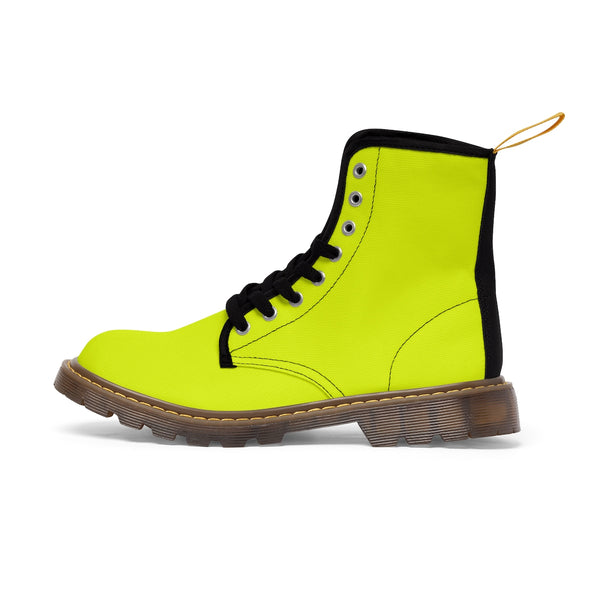 Lime Yellow Classic Solid Color Designer Women's Winter Lace-up Toe Cap Boots-Women's Boots-Brown-US 10-Heidi Kimura Art LLC