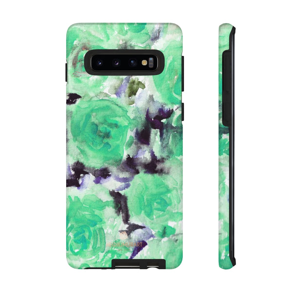 Turquoise Floral Print Tough Cases, Designer Phone Case-Made in USA-Phone Case-Printify-Samsung Galaxy S10-Glossy-Heidi Kimura Art LLC