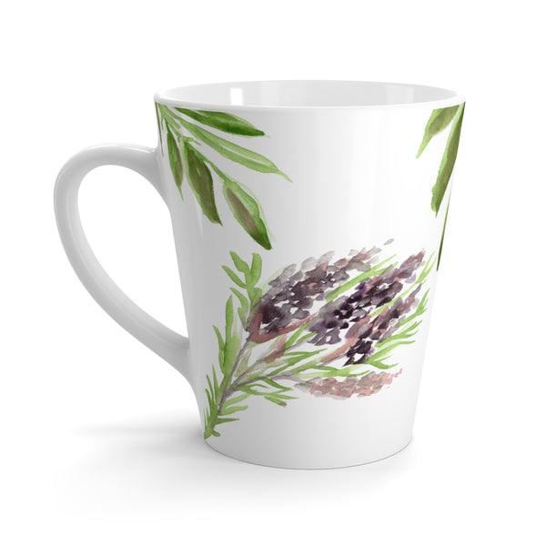 Floral Print Lavender Floral Print 12 oz C-Handle White Ceramic Latte Mug Coffee Cup-Mug-12oz-Heidi Kimura Art LLC