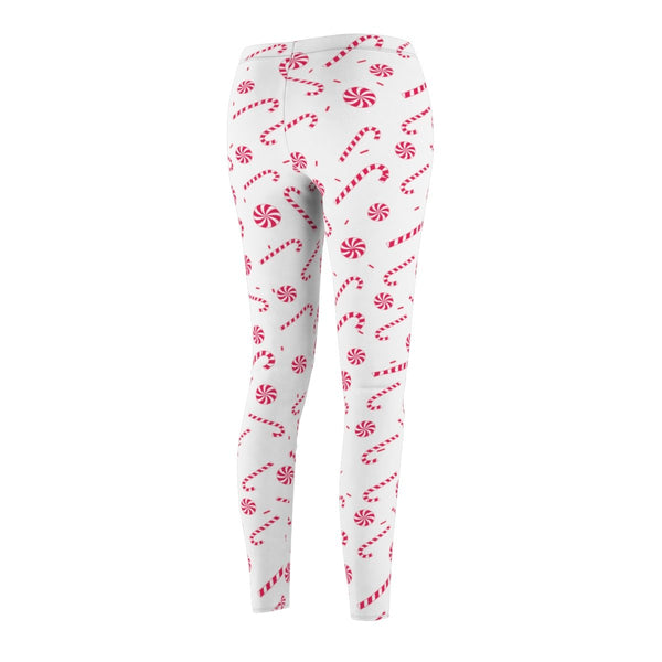 Red and White Candy Cane Print Women's Christmas Casual Leggings - Made in USA-Casual Leggings-Heidi Kimura Art LLC