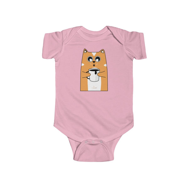 Orange Cat Loves Coffee Infant Fine Jersey Regular Fit Unisex Bodysuit - Made in UK-Infant Short Sleeve Bodysuit-Pink-NB-Heidi Kimura Art LLC