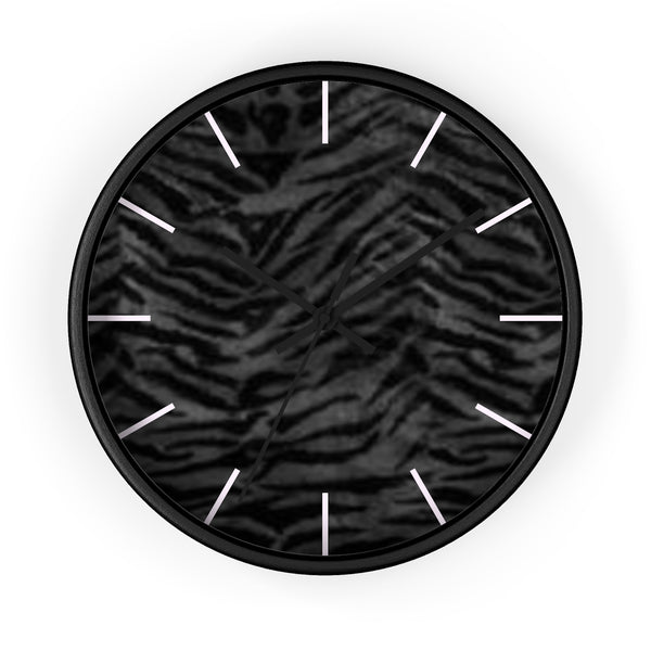 Black Tiger Stripe Wall Clock, Animal Print 10 inch Diameter Indoor Clock-Made in USA-Wall Clock-Black-Black-Heidi Kimura Art LLC