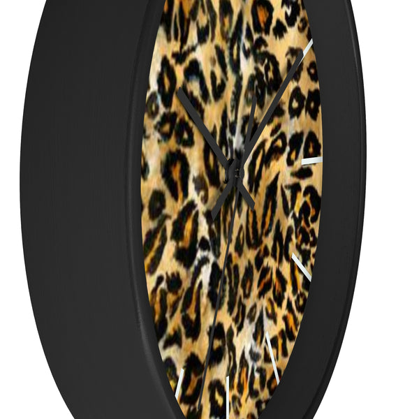 "Brown Leopard Print Wall Clock, Animal Print Pattern 10"" Dia. Indoor Clock-Made in USA-Wall Clock-Heidi Kimura Art LLC"