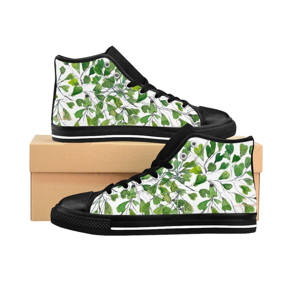 Fern Men's High-top Sneakers, White Green Cute Maidenhair Leaf Print Designer Men's High-top Sneakers Running Tennis Shoes, Fern Leaves Designer High Tops, Mens Floral Shoes, Tropical Leaf Print Sneakers (US Size: 6-14)