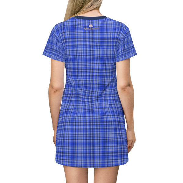 Preppy Blue Plaid Tartan Print Designer Crew Neck Long T-shirt Dress-Made in USA-T-Shirt Dress-Heidi Kimura Art LLC