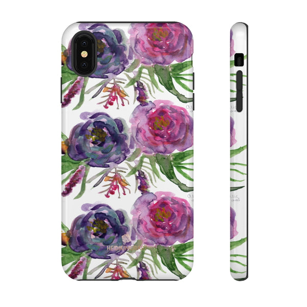 Pink Floral Print Phone Case, Roses Tough Designer Phone Case -Made in USA-Phone Case-Printify-iPhone XS MAX-Glossy-Heidi Kimura Art LLC