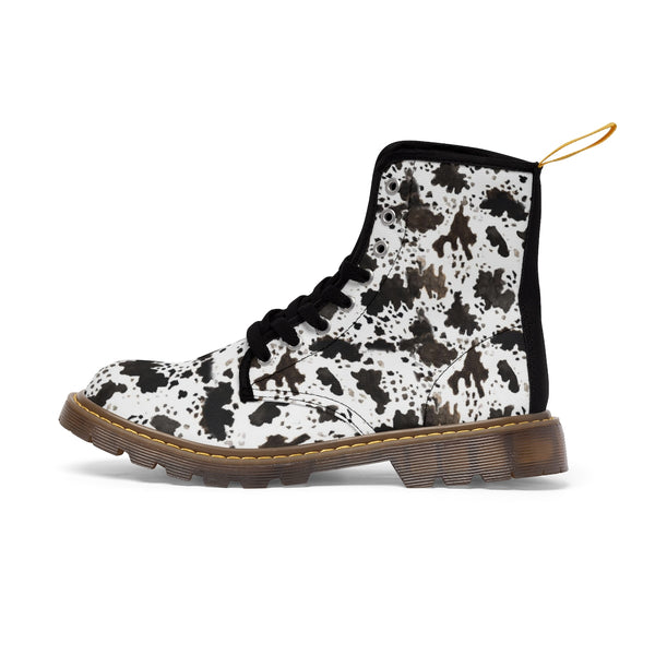 Brown Cow Print Animal Pattern Nylon Canvas Women's Winter Boots Shoes-Women's Boots-Brown-US 10-Heidi Kimura Art LLC