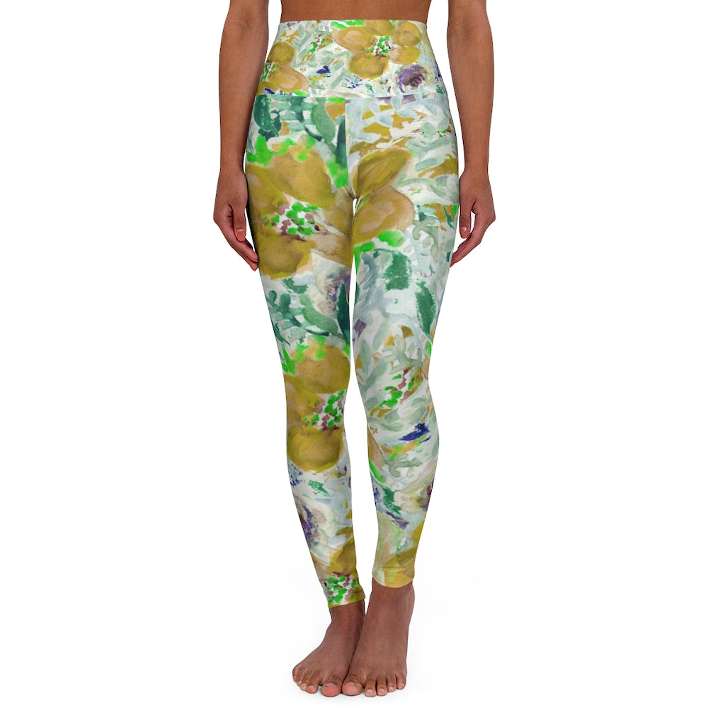 Yellow Floral Yoga Pants, High Waisted Yoga Leggings, Black Grey White Flower Print Women's Tights-All Over Prints-Printify-XS-Heidi Kimura Art LLC