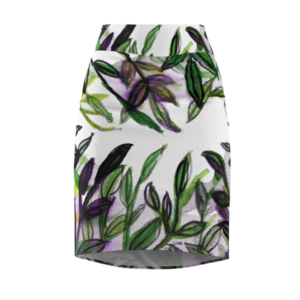 Boho Style Lady Tropical Green Leaves Women's Designer Pencil Skirt - Made in USA (XS-2XL)-Pencil Skirt-XS-Heidi Kimura Art LLC