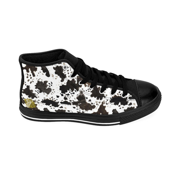 Farm Cow Print Black White Brown High Performance Women's High-Top Sneakers Shoes, (US Size: 6-12)-Women's High Top Sneakers-Heidi Kimura Art LLC