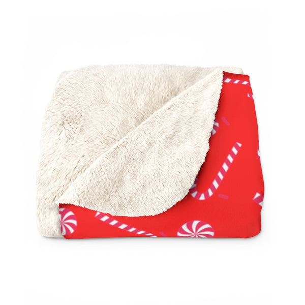 Bright White Red Candy Cane Christmas Print Cozy Sherpa Fleece Blanket - Made in USA-Blanket-Heidi Kimura Art LLC